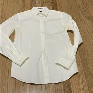 Express fitted white long sleeve button. Small